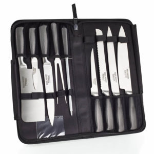 Ross Henery 9-Piece Professional Eclipse Stainless Steel Knife Set with Carrying Bag